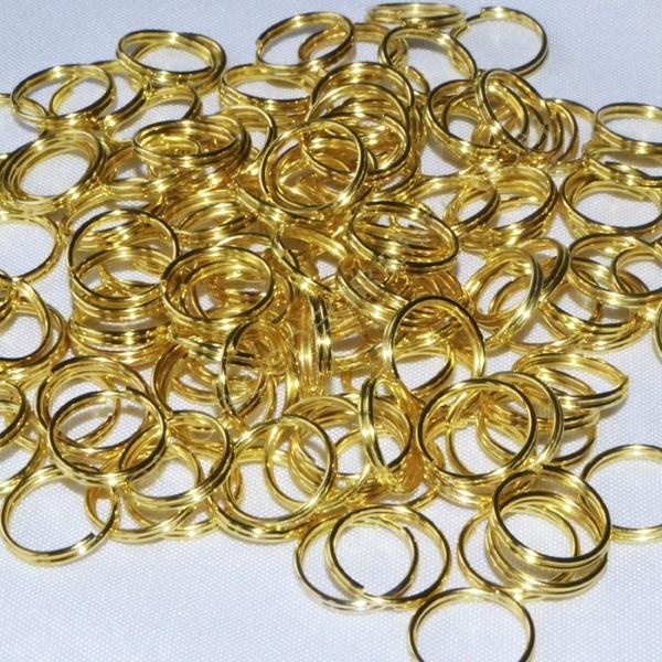 Bolsa de argollas abiertas dobles de 12 mm color dorado
