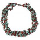 Collar de coral natural y piedras imitación turquesa