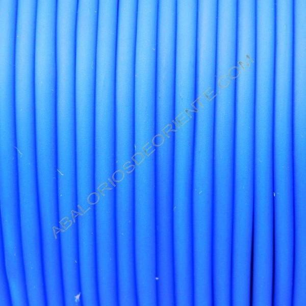 Cordón de caucho hueco azul turquesa en carretes