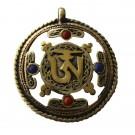 Colgante tibetano con símbolo OM bronce