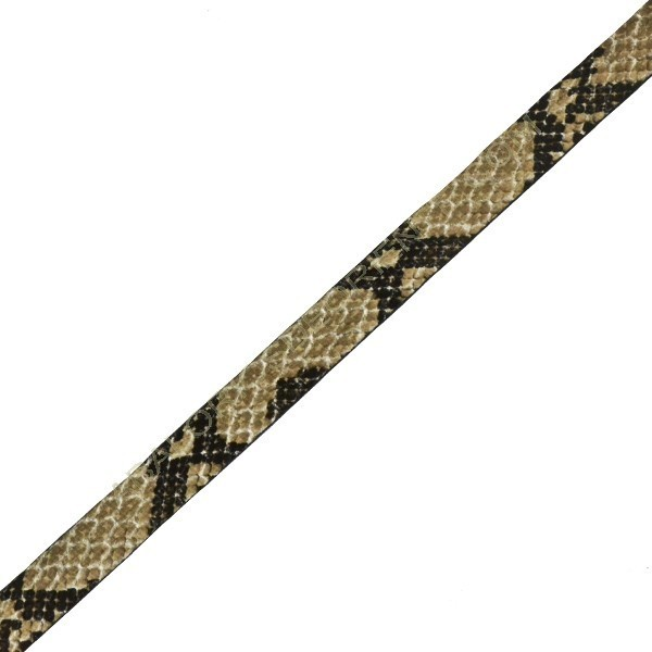 Cuero plano imitación serpiente beige en metros