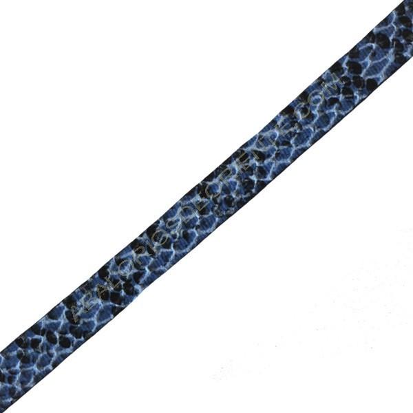 Cuero plano imitación serpiente azul
