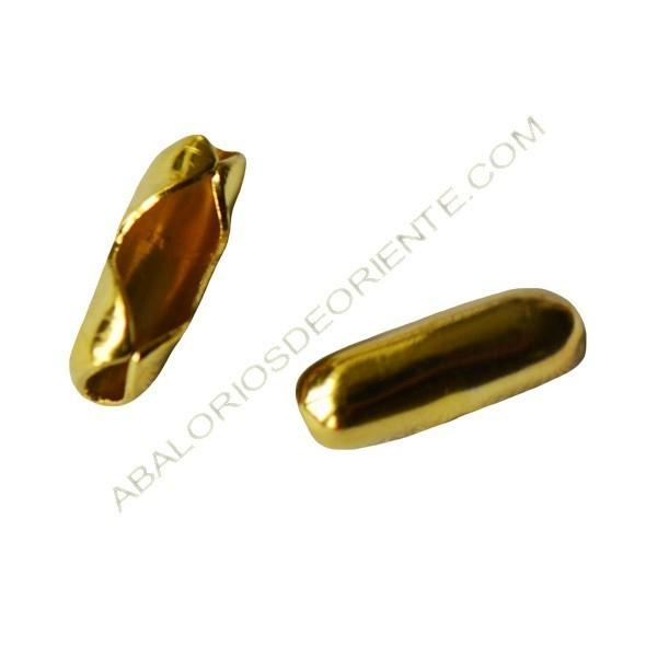 Cierre para cadena de bolas dorada 2 mm