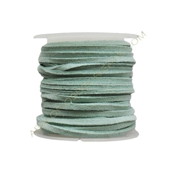 Cordón de ante azul aguamarina 3 x 1 mm