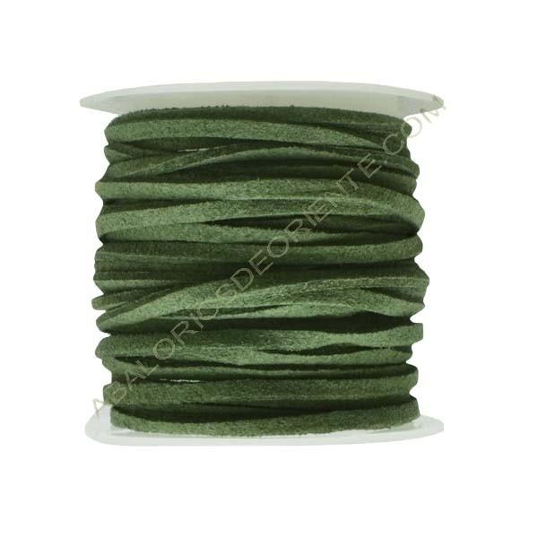 Cordón de ante verde caza 3 x 1 mm