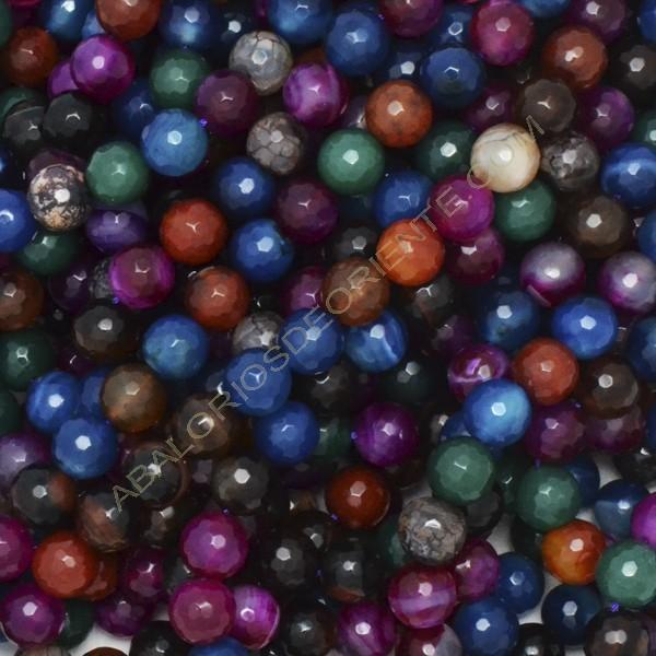 Ágata natural multicolor redonda facetada de 10 mm