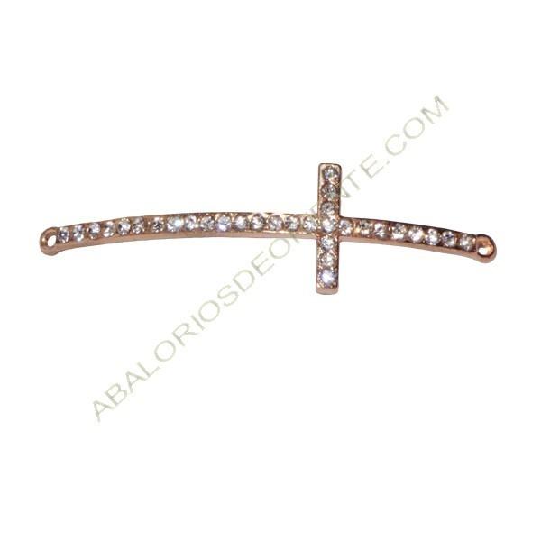 Cruz conectora de Zamak oro rosa con rhinestones para pulsera