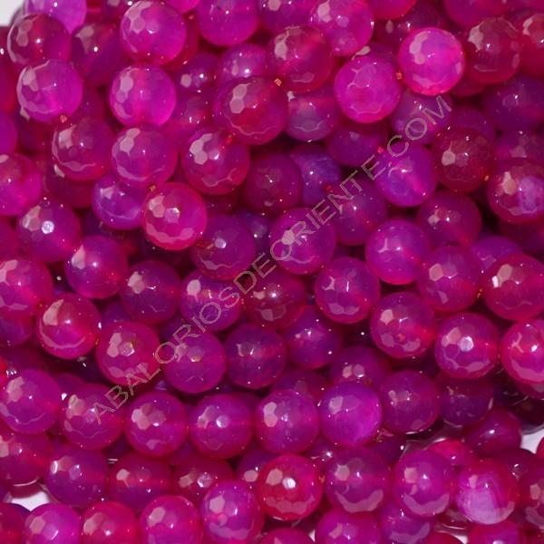 Ágata rosa facetada de 10 mm