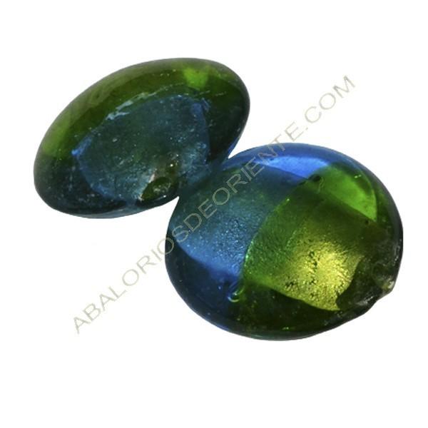 Cuenta de cristal de Murano redondo azul y verde 28 mm