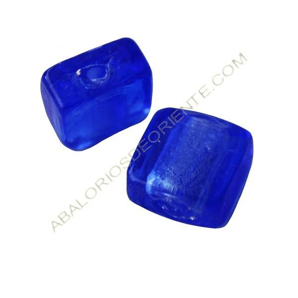Cuenta de cristal de Murano cuadrada azul 10 x 10 mm