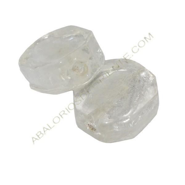 Cuenta de cristal de Murano poligonal blanca transparente
