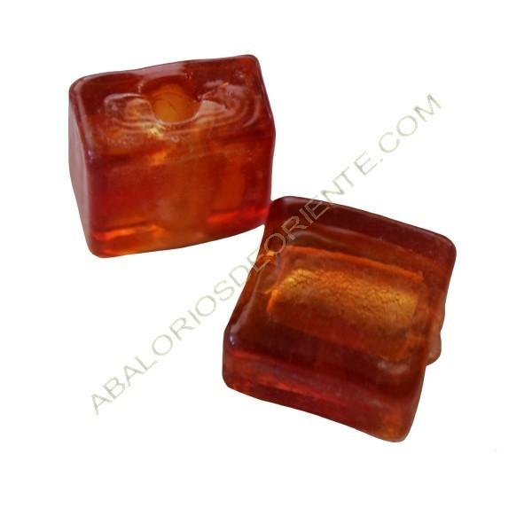Cuenta de cristal de Murano cuadrada naranja de 10 x 10 mm