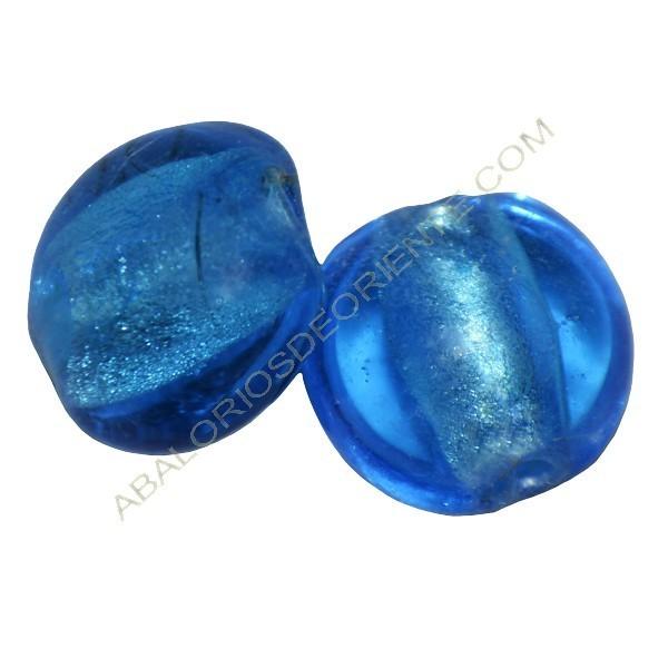 Cuenta de cristal de Murano redonda azul turquesa 12 mm