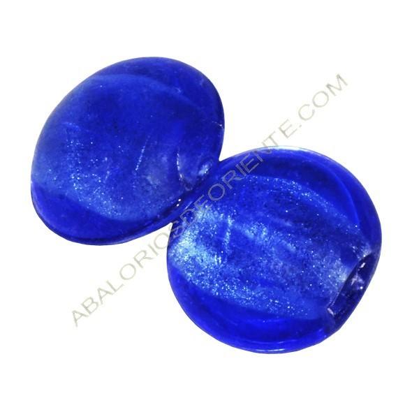 Cuenta de cristal de Murano redonda azul 15 mm 1