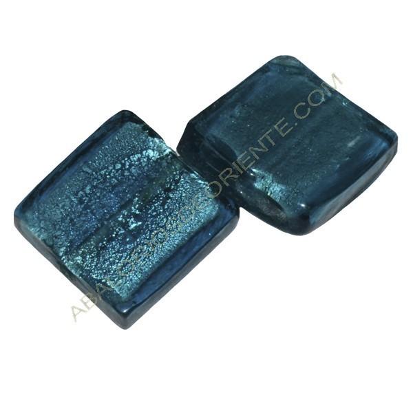 Cuenta de cristal de Murano cuadrado verde mar 20 mm