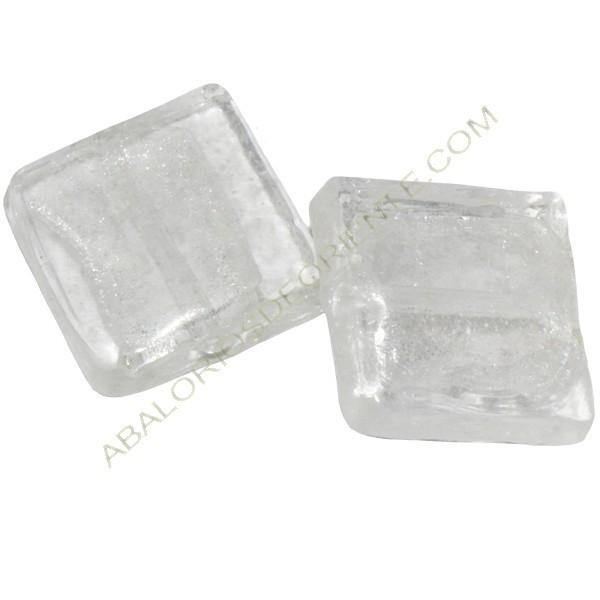 Cuenta de cristal de Murano cuadrado transparente 20 mm