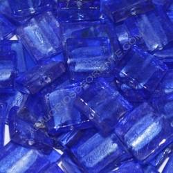 Cuenta de cristal de Murano cuadrado azul 20 mm
