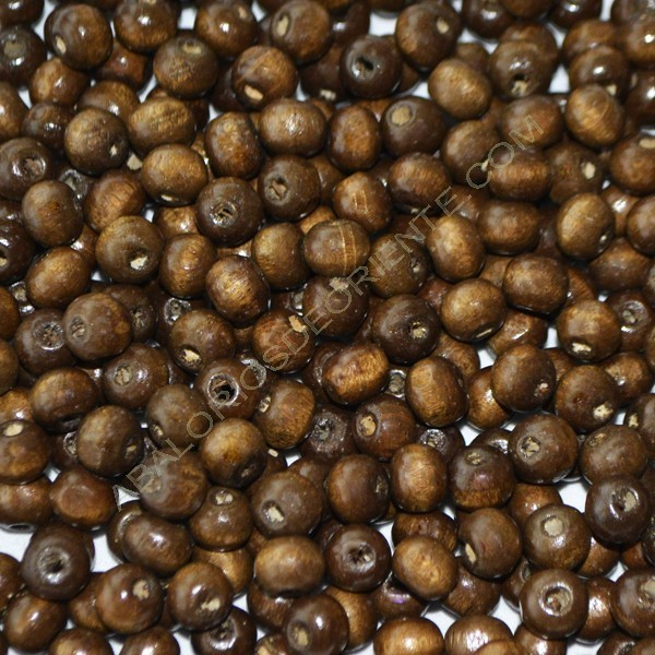 Bolsa con cuentas de madera redonda marrón de 7 mm
