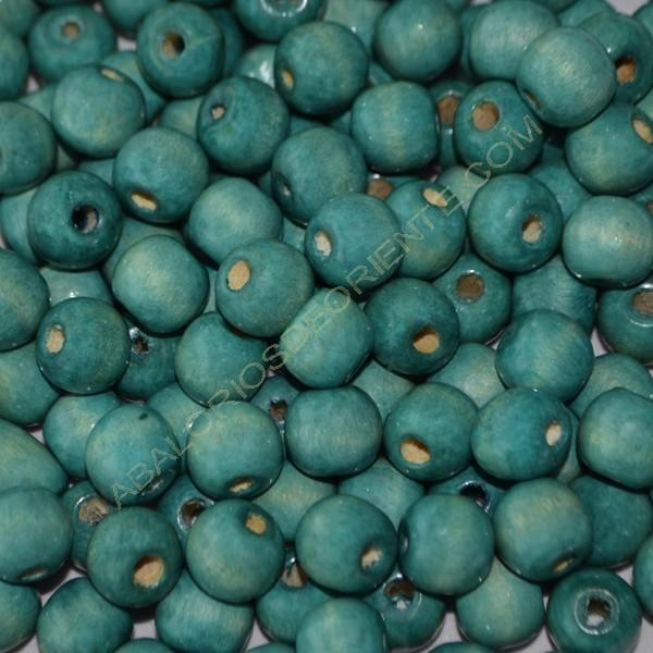 Cuenta de madera redonda azul turquesa de 12 mm
