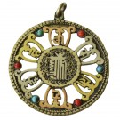 Colgante amuleto tibetano Kalachakra filigranas