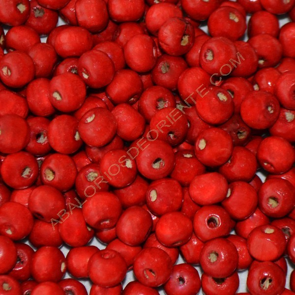 Cuenta de madera redonda roja de 12 mm