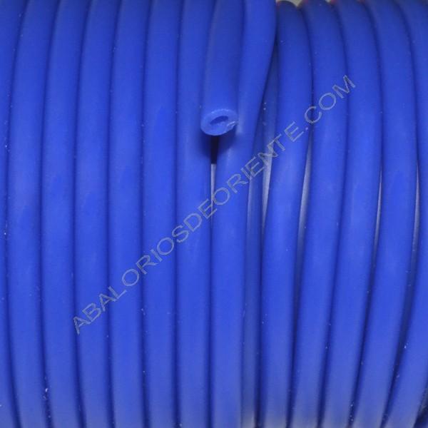 Cordón de Caucho hueco de 4 mm azul