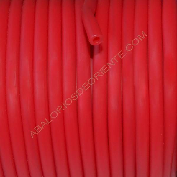 Cordón de caucho hueco de 4 mm rojo