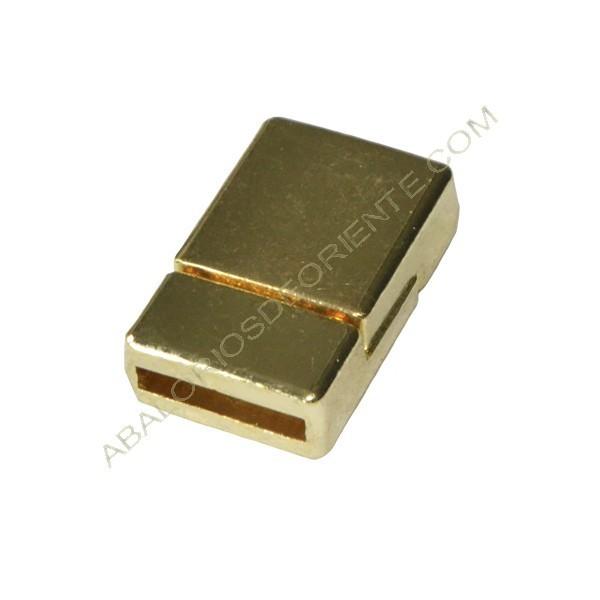 Cierre magnético rectangular dorado liso