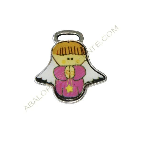 Medalla de angelito Cuídame Plis rosa