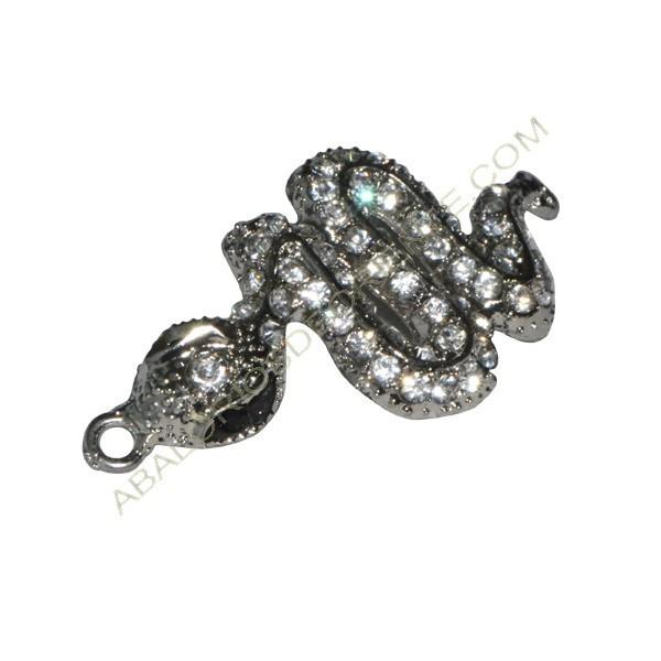 Conector de aleación de Zinc serpiente con rhinestones 27 x 57 x 4 mm plata