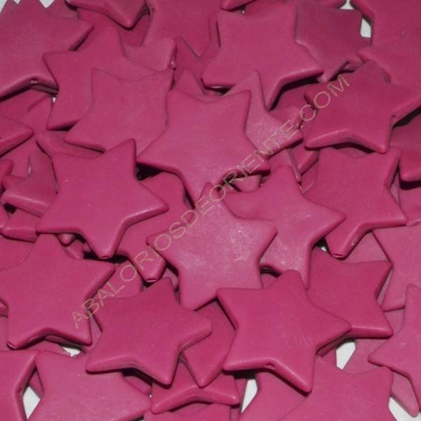 Cuenta acrílica estrella rosa fucsia 27 x 27 x 5 mm