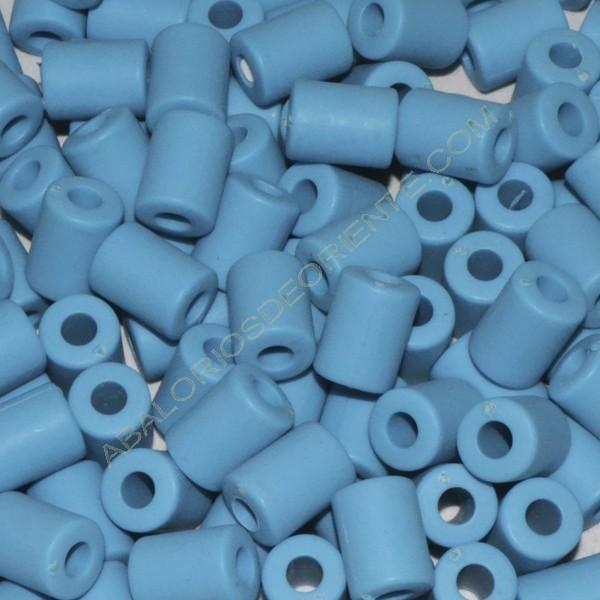 Cuenta acrílica tubo azul 14 x 11 x 11 mm