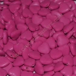 Cuenta acrílica corazón rosa fucsia 13 x 13 x 5 mm