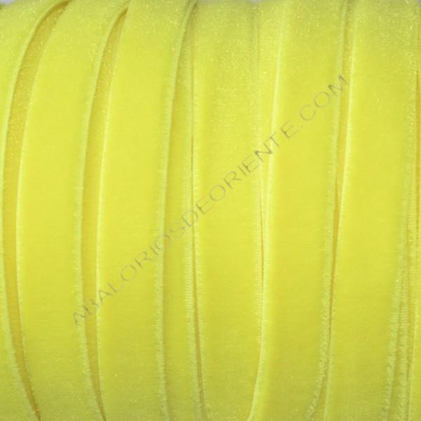 Cinta de terciopelo elástico amarillo flúor