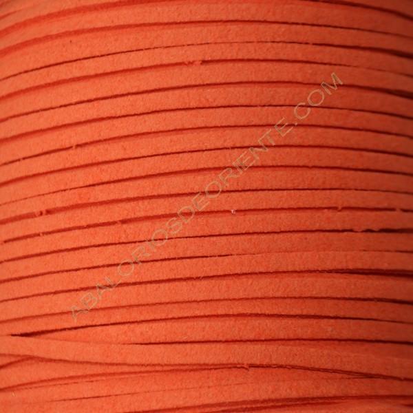 Cordón de antelina naranja 3 x 1.5 mm