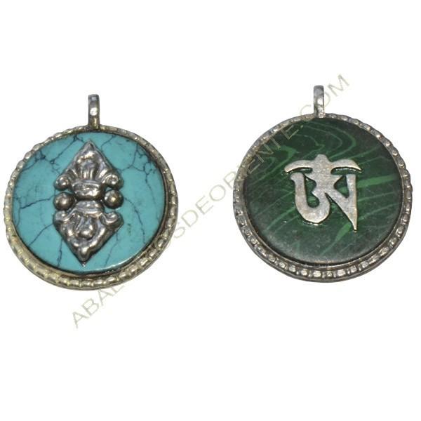 Colgante tibetano verde y turquesa