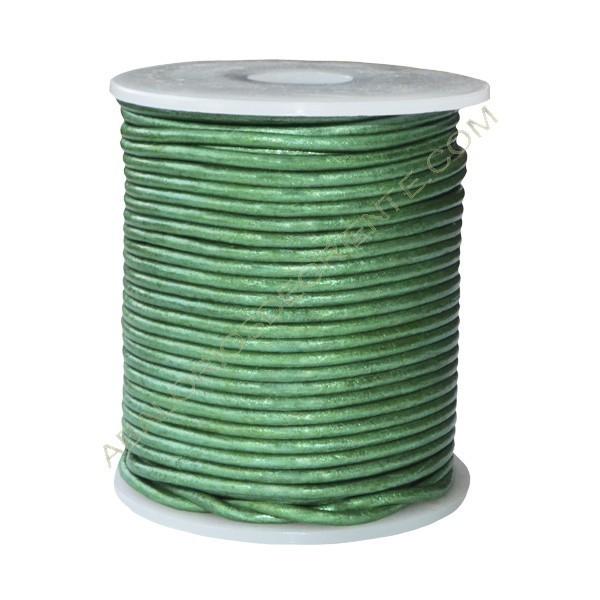 Cuero 2 mm verde metalizado 250