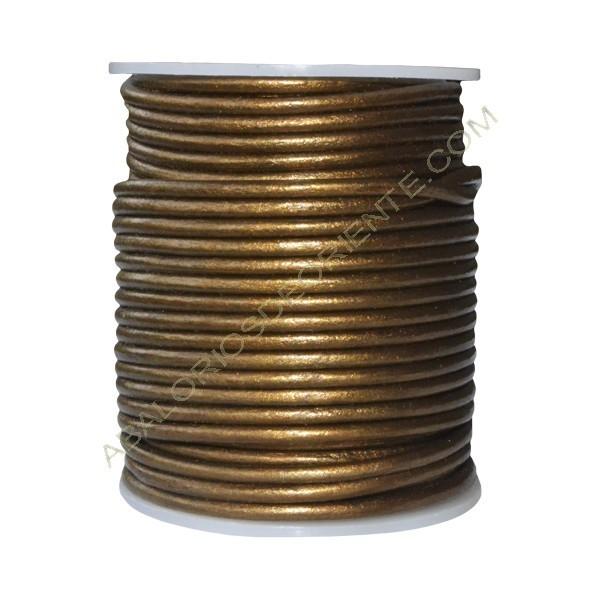 Cuero 3 mm Bronce metalizado 227