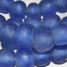 Cuenta de vidrio reciclado azul 12 x 14 x 14 mm