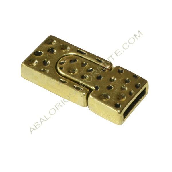 Cierre magnético de Zamak rectangular dorado