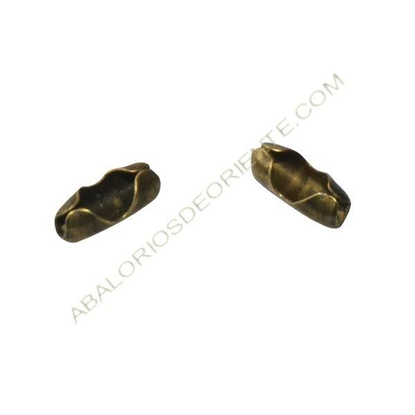 Cierre para cadena de bolas bronce 2 mm