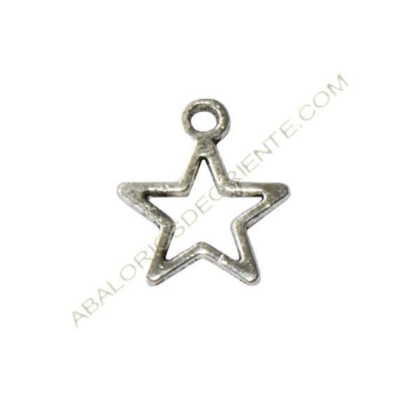 Colgante de metal estrella hueca plateada de 13 x 10 x 2 mm