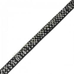 Cuero plano imitación serpiente gris-3