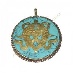 Colgante tibetano turquesa con peces dorados