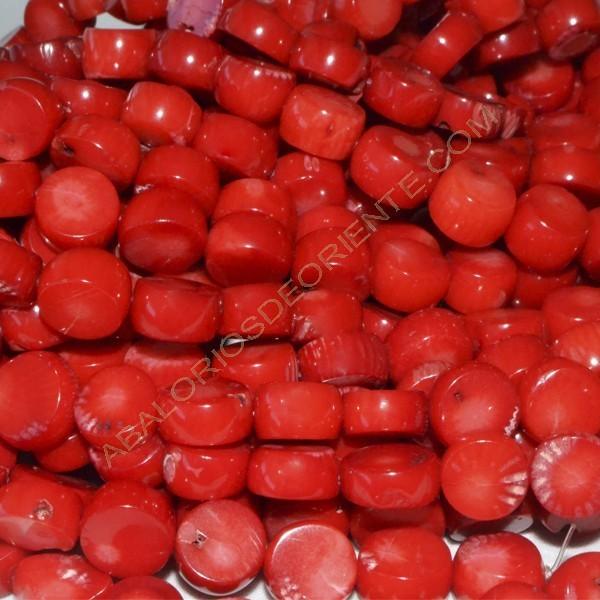 Coral natural moneda 9-10 x 9-10 x 4-6 mm.