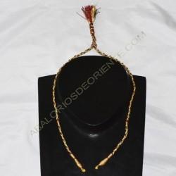 Cordón indio para collar trenzado verde rojo y dorado
