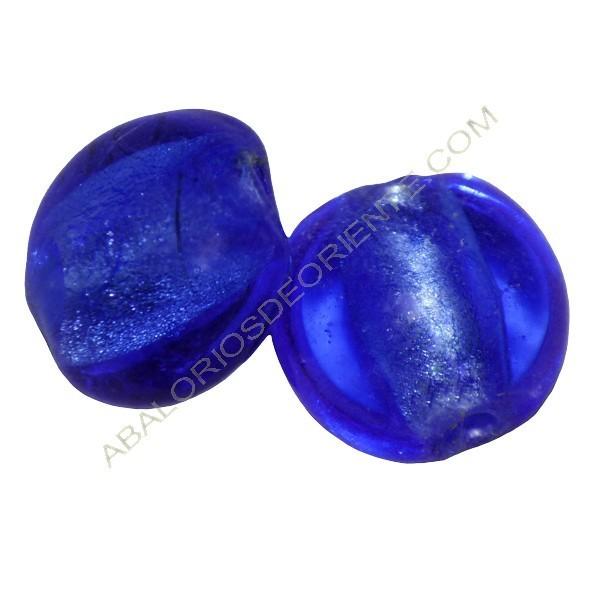 Cuenta de cristal de Murano plana redonda Azul mar 12 mm