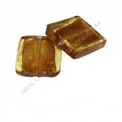 Cuenta de cristal de Murano cuadrada ámbar de 20 mm