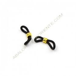 Gomas para gafas negra y doble anilla dorada