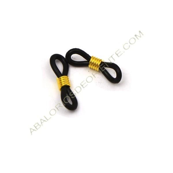 Gomas para gafas negra y muelle dorado